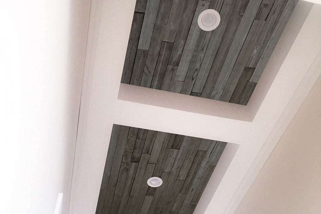 Vintage barn board ceiling accent
