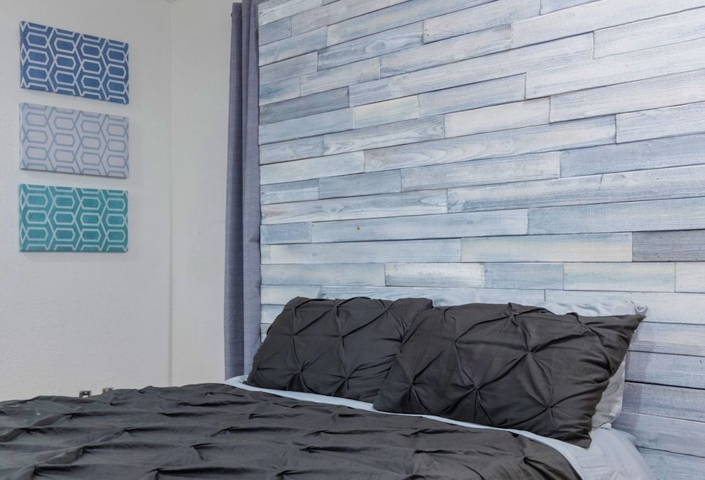 wood accent wall bedroom